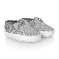 Michael Kors Baby Girls Silver Glitter Pre Walker Shoes