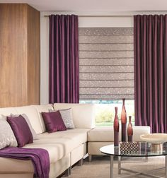 Bali® Tailored Roman Shades - Patterns and Stripes in Jovi Milky Way and Back Tab Drapery in Poetic Vienna