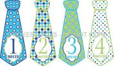 Baby Boy Monthly Onesie Stickers Necktie Neck Tie by StickersPlus, $8.99