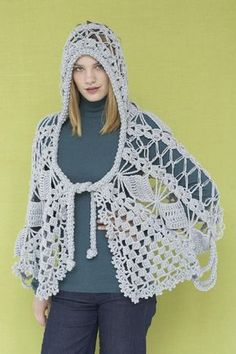 Maid Marion Lace Crochet Shawl | This lacy hooded shawl is as enchanting as it is stylish