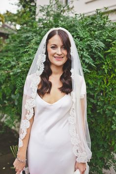 Mantilla veil, from 'A Slinky 1930s Inspired Sarah Janks Wedding Dress for a Modern Day Chic, London Wedding'  http://www.lauramccluskeyphotography.com/