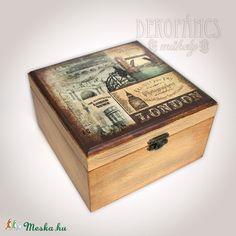 Ódon London -  fadoboz (dekopancs) - Meska.hu Decoupage, Decorative Boxes, London, Diy, Home Decor, Crates, Wood, Decoration Home, Bricolage