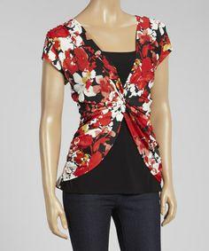 Another great find on #zulily! Red & Black Floral Twist Cap-Sleeve Top - Women #zulilyfinds