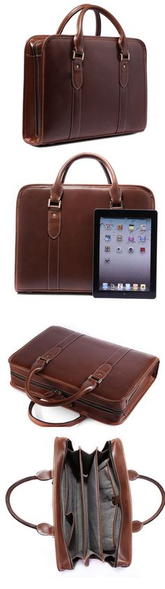 "Best Gift Genuine Cowhide Leather Briefcase Tote Business Bag 15"" Laptop Macbook Bag"