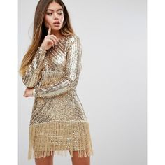 Prettylittlething Premium Sequin Fringed Mini Dress ($98) ❤ liked on Polyvore featuring dresses, gold, bodycon dress, sequin dresses, long sleeve sequin cocktail dress, sequin mini dress and short bodycon dresses