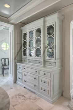 imagine this in a modern way, with a cool pattern on the top doors, not on glass. different style doors and handles. - A Classic Kitchen - traditional - kitchen - atlanta - Stephen Fuller Designs Deco Buffet, Classic Kitchen, Sweet Home, Built In Cabinets, China Cabinets, Green Cabinets, Built In Hutch, Wall Cabinets, Kitchen Cabinets