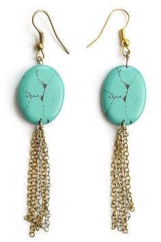 Bedrock Earrings - Turquoise from Mata Traders at StriveGreen #ecojewelry #fairtrade