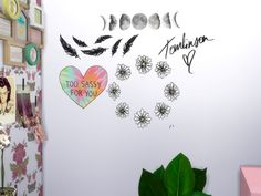 Lovely Wallstickers for you.  Found in TSR Category 'Sims 4 Painting and Poster Recolors'