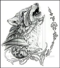 Elven Wolf Tattoo Commission by *lions-nd-yellocake Trendy Tattoos, Unique Tattoos, Beautiful Tattoos, Small Tattoos, Amazing Tattoos, Tattoo Drawings, Body Art Tattoos, New Tattoos, Tattoo Art