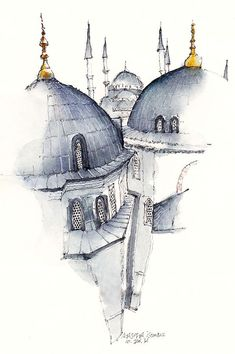 Ayasofia, istanbul, turkey by Sunga ParkFamous places in Aquarelle painting is a project by Korean artist and illustrator Sunga Park. Sunga currently lives and works in Busan, Rep of South Korea.Watercolor Illustrations of Architecture of the WorldThailan Architecture Drawing Art, Watercolor Architecture, Chinese Architecture, Islamic Architecture, Beautiful Architecture, Drawing Sketches, Art Drawings, Drawing Drawing, Drawing Ideas