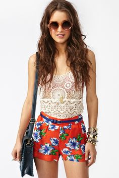 Floral shorts and lace tops