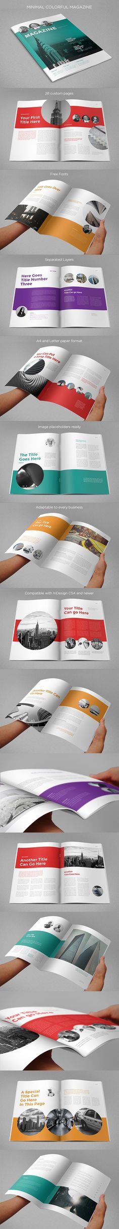 Buy Minimal Colorful Magazine By AbraDesign On GraphicRiver MINIMAL COLORFUL MAGAZINE Clean Modern And Simple Design Ideal For Any Purposes