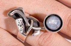 Ring | Ed Wiener.  Sterling silver with Star Sapphire. c. 1946.