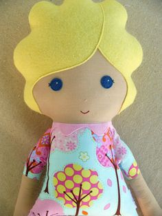Fabric Doll Rag Doll Blond Haired Girl in Whimsical Blue Tree Dress