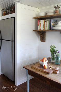 Keeping It Cozy: Kitchen Update: Building a Refrigerator Cabinet for the extra fridge!