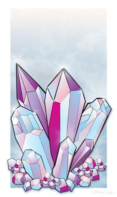 crystal cluster drawing - Google Search
