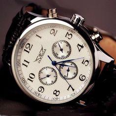 Stan vintage watches — Mens Leather Fashion Watch (WAT0103-WHITE)
