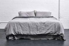 100% Linen Duvet Cover in Cool Grey