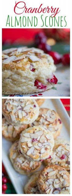 Cranberry Almond Scones Light and airy, perfectly moist and sweet and great for a special breakfast or brunch during the holidays! Cranberry Scones, Cranberry Almond, Cranberry Recipes, Holiday Recipes, Holiday Desserts, Cranberry Images, Cherry Scones, Easter Desserts, Cranberry Sauce