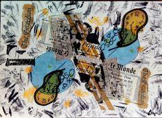 ARTES, DESARTES E DESASTRES CONTEMPORÂNEOS.  Cartão : Sinto... engano meu 0,13 x 0,18 Colagem/  Mixed midia / pintura