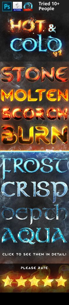 """aqua, burn, cold, crisp, depth, detailed, effects, fire, freeze, frozen, games, heat, hot, ice, melt, molten, movies, posters, professional, scorch, water, xiox Amp up your project with these scorchingly cool layer styles! Use them in game titles, movies titles, or even for your posters! Each style comes with a top piece and a bottom piece which is labeled """"BOTTOM"""". Because of this, you are able to add a bit of depth with each of them to make them pop from the screen! Make sure you clic..."""