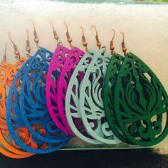 Pretty Wooden Lightweight Earrings- 12 Colors!