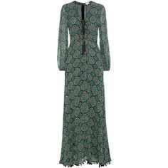 Talitha Printed Silk Maxi Dress (13.745.355 IDR) ❤ liked on Polyvore featuring dresses, multicoloured, green maxi dress, multi color maxi dress, colorful dresses, multi-color dress and multi colored dress