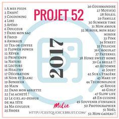 Je suis ravie de proposer de Projet 52 pour la quatrième année maintenant ! J'adore l'idée de se suivre en photos pendant toute une année. Pour participer,