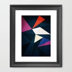 electric vibes - triangle shapes in dark Framed Art Print by Konrad Pitala - $34.00