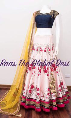 bridal lehenga USA Silk Chania with designer brocade blouse and contrast dupatta Lehenga Gown, Lehenga Style, Party Wear Lehenga, Indian Lehenga, Lehenga Blouse, Floral Lehenga, Dress Party, Lengha Blouse Designs, Choli Designs