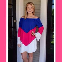 """Our """"Out of the Blue"""" dress is so easy to just throw on & go for all you busy ladies out there.  Get it for only $39 + FREE SHIPPING (wear it on or off the shoulder)  (at http://www.hazelandolive.com)"""