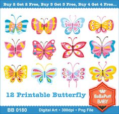Buy 2 Get 2 Free ---- Butterfly Clip Art ---- Personal and Small Commercial Use ---- BB 0180. $5.00, via Etsy.