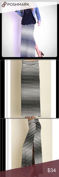 Striped Black & White Maxi Maxi Skirt. Black and white. Side slit. Super comfy. Skirts Maxi