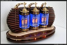 Lamina Nixie Clock, made with Russian Nixie vacuum tubes. Yes, this is real, and yes, the clock actually works. (Woodize on Etsy)