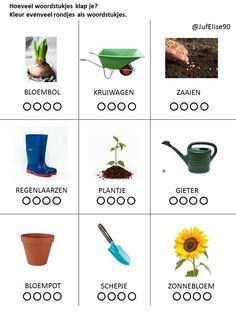 Woordstukjes klappen tot 4. Thema lente - zaaien en planten Preschool Learning Activities, School Readiness, Garden Theme, Crowns, Spring, Plants, Fruits And Vegetables, Flowers, Sunflowers