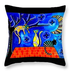 Throw Pillow featuring the painting Night Shift - Cat Art By Dora Hathazi Mendes #nightshift #catart #throwpillow #dorahathazi #art