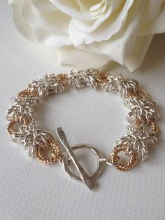 Hugs and Kisses Sterling Silver Chainmaille Gold Fill Toggle Keepsake Bracelet