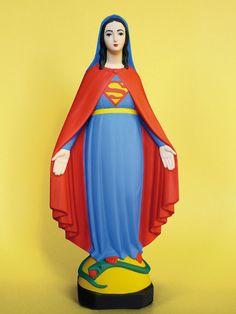 Virgin Mary pop sculptures - chicquero art - Saint Superman
