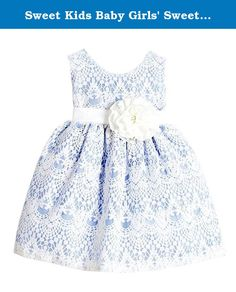 Sweet Kids Baby Girls' Sweet Vintage Lace Dress 18M Lg Light Blue (SK B437). Sure to add a touch of Vintage Elegance to any Event; Sweet Vintage Lace Overlay Dress; Sleeveless Scoop Neck Bodice with Simple Sash and Flower Accenting the Waist; Vintage Inspired Lace Overlay Knee Length Skirt; Fully Lined with Built in Netted Slip; Back Zippered Closure and Tie Sash for a Customized Fit at the Waist; 100% Polyester; Hand Wash Only; Made in the USA.