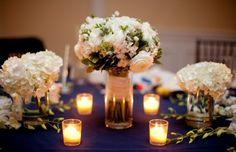 White Wedding Flowers 550x356 Preppy Virginia Country Club Wedding Reception: Katharine + Brad