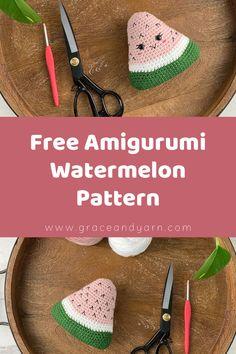Quick and easy no-sew amigurumi watermelon pattern! Crochet Food, Thread Crochet, Crochet Gifts, Crochet For Kids, Crochet Yarn, Free Crochet, Crochet Things, Easy Beginner Crochet Patterns, Crochet Tutorials
