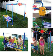 Kids Waterpark Structure Backyard Play Set Toddler Garden Fun Bucket Toy 6 in 1 #KidsWaterparkStructure