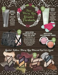 Mary Kay just announced more limited edition products, as well as, some new Holiday product!!! Christmas is fast approaching & these limited edition eye quads are going to sell out so fast! Contact me to pre-order yours today!! Or visit my website www.marykay.com/mrunge314