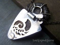 ANCIENT SANDS Petrified Wood and Pyrite Ammonite Fossil Sterling Silver Necklace