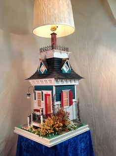 Bring the doll house into the family room with a gorgeous WORKING TABLE LAMP!    Miniature lighting system for the house as well. Interior and