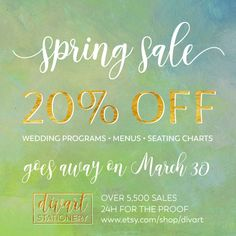 SPRING SALE - 20% OFF wedding programs, menus, seating charts GOES AWAY MARCH 30