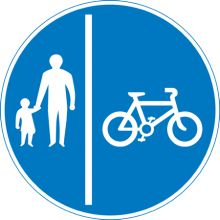 (roadsignsdirect.co.uk, 2013) Blue road signs. Mostly in the shape of blue circles, these signs give drivers information about the road layouts, such as one way, cycle paths and minimum speed limits etc.