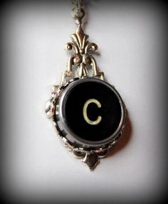 Typewriter Key Necklace Handmade Personalized Art by JustWearThese, $21.00