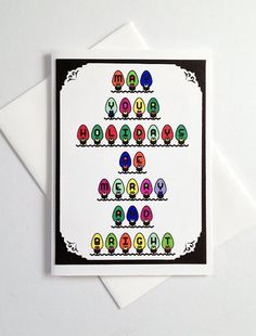 Christmas Holiday Colorful Light Bulbs Handmade Greeting Card by CreativeLily