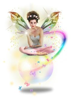 """""""Rainbow Fairy"""" by angelc ❤ liked on Polyvore featuring art"""
